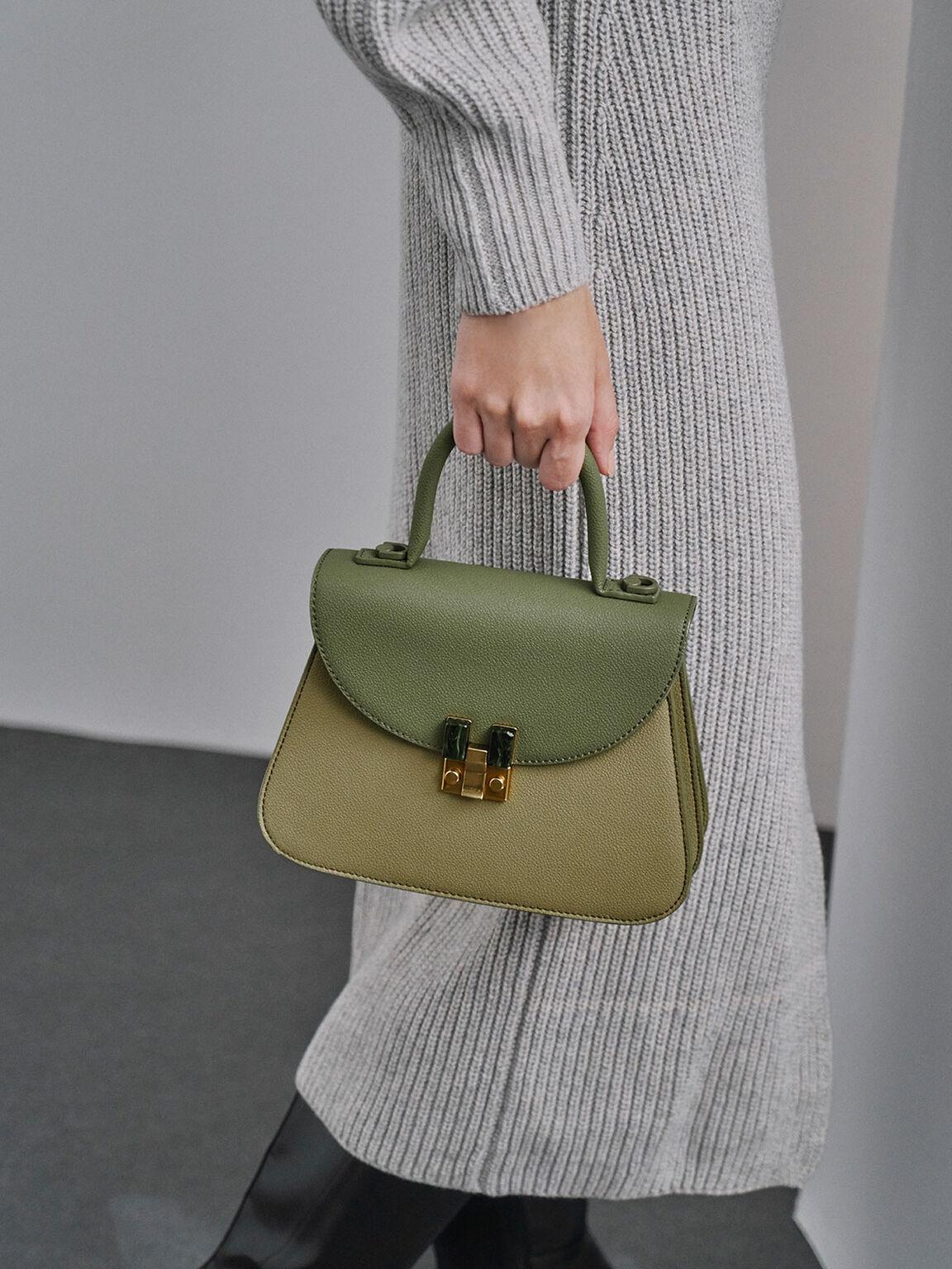 Stone-Embellished Sculptural Bag, Sage Green, hi-res