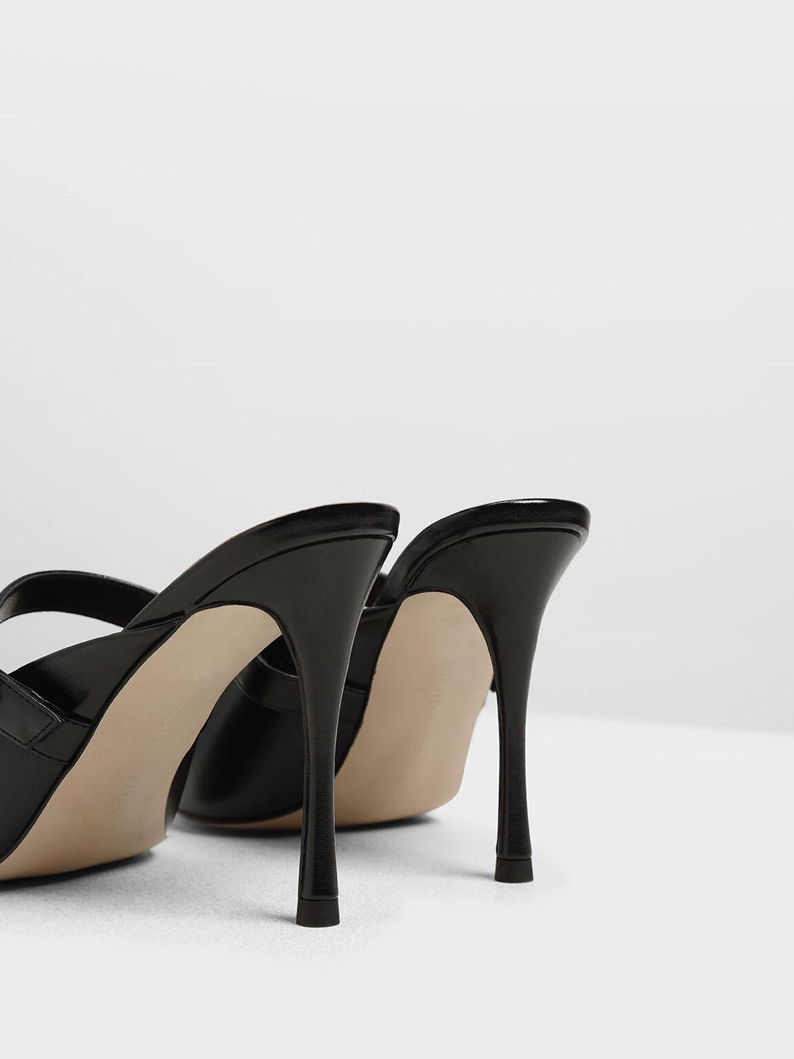 Embellished Buckle Metallic Heels, Black, hi-res