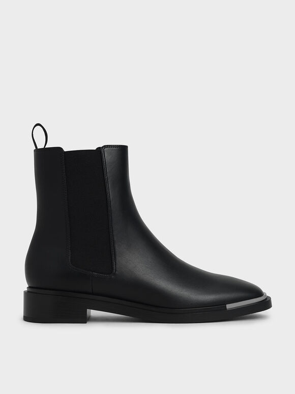 Metal Accent Chelsea Boots, Black, hi-res