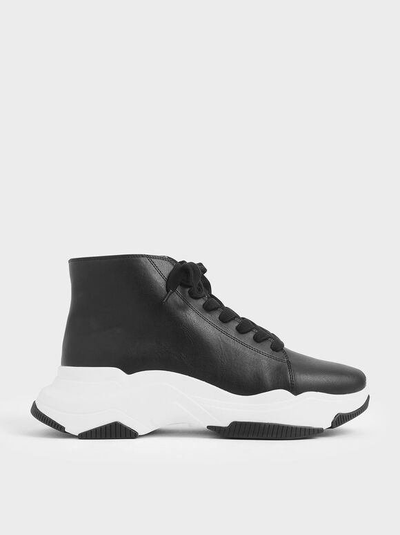Lace-Up Chunky High Top Sneakers, Black, hi-res