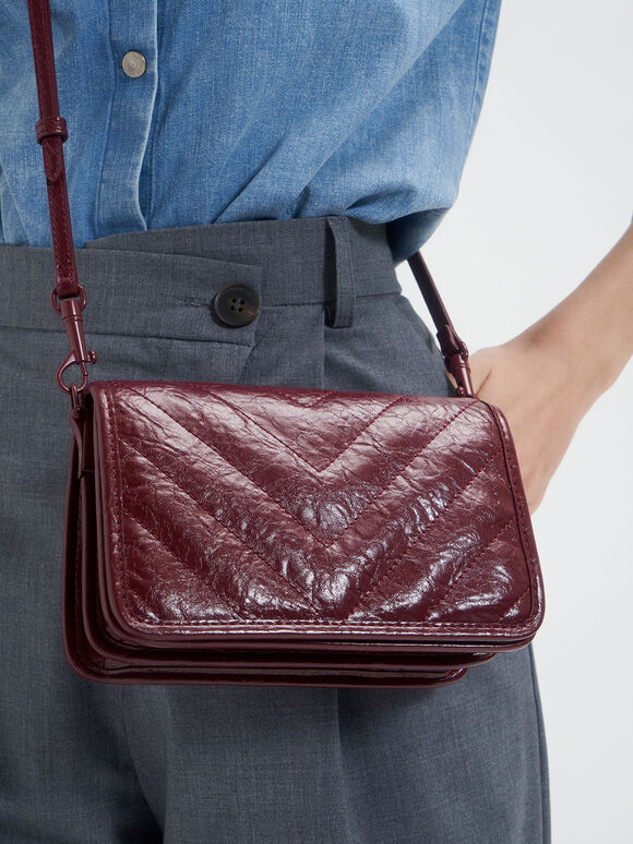 Quilted Patent Crossbody Bag, Burgundy, hi-res