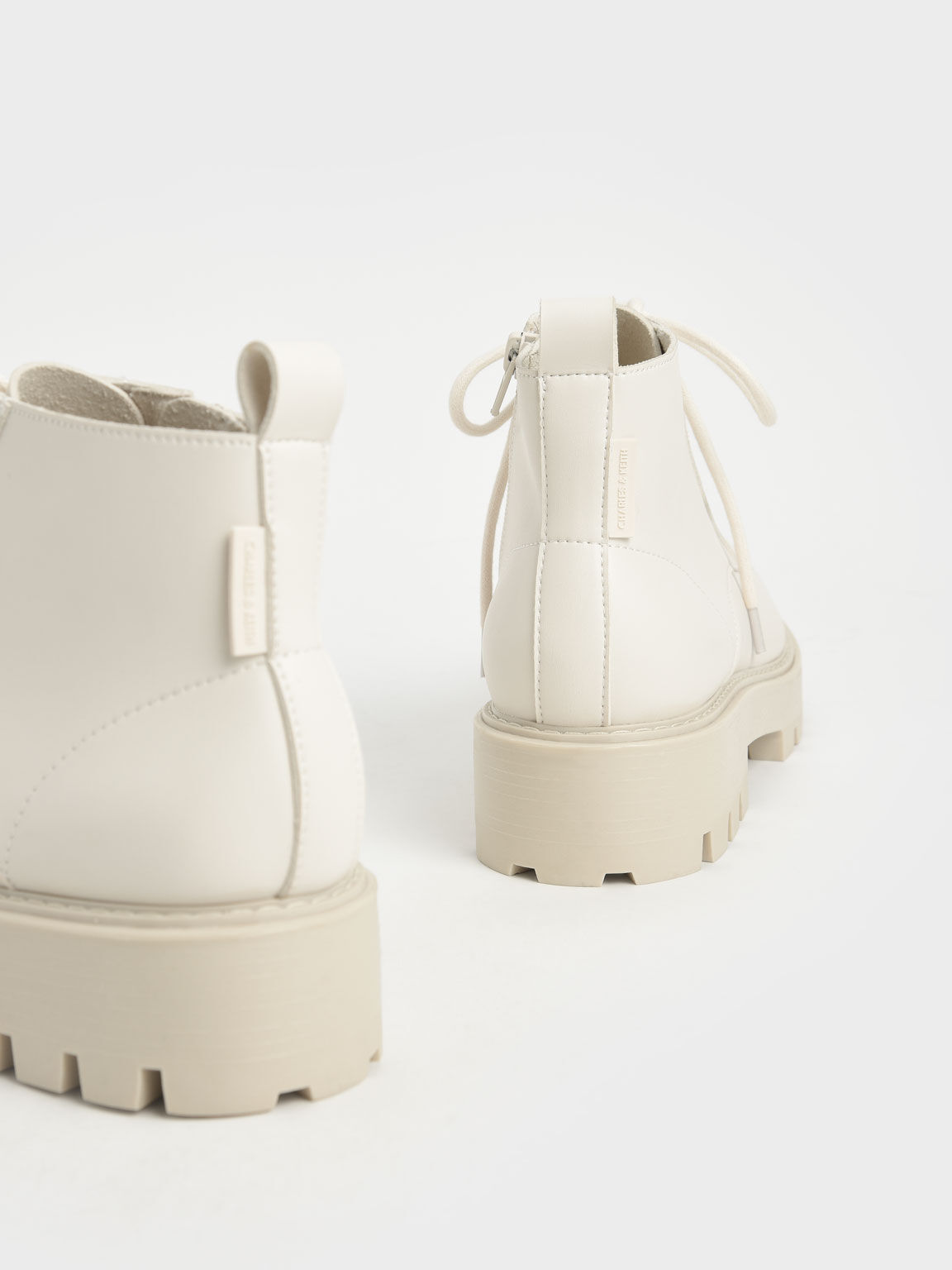 Lace-Up Chunky Ankle Boots, Chalk, hi-res