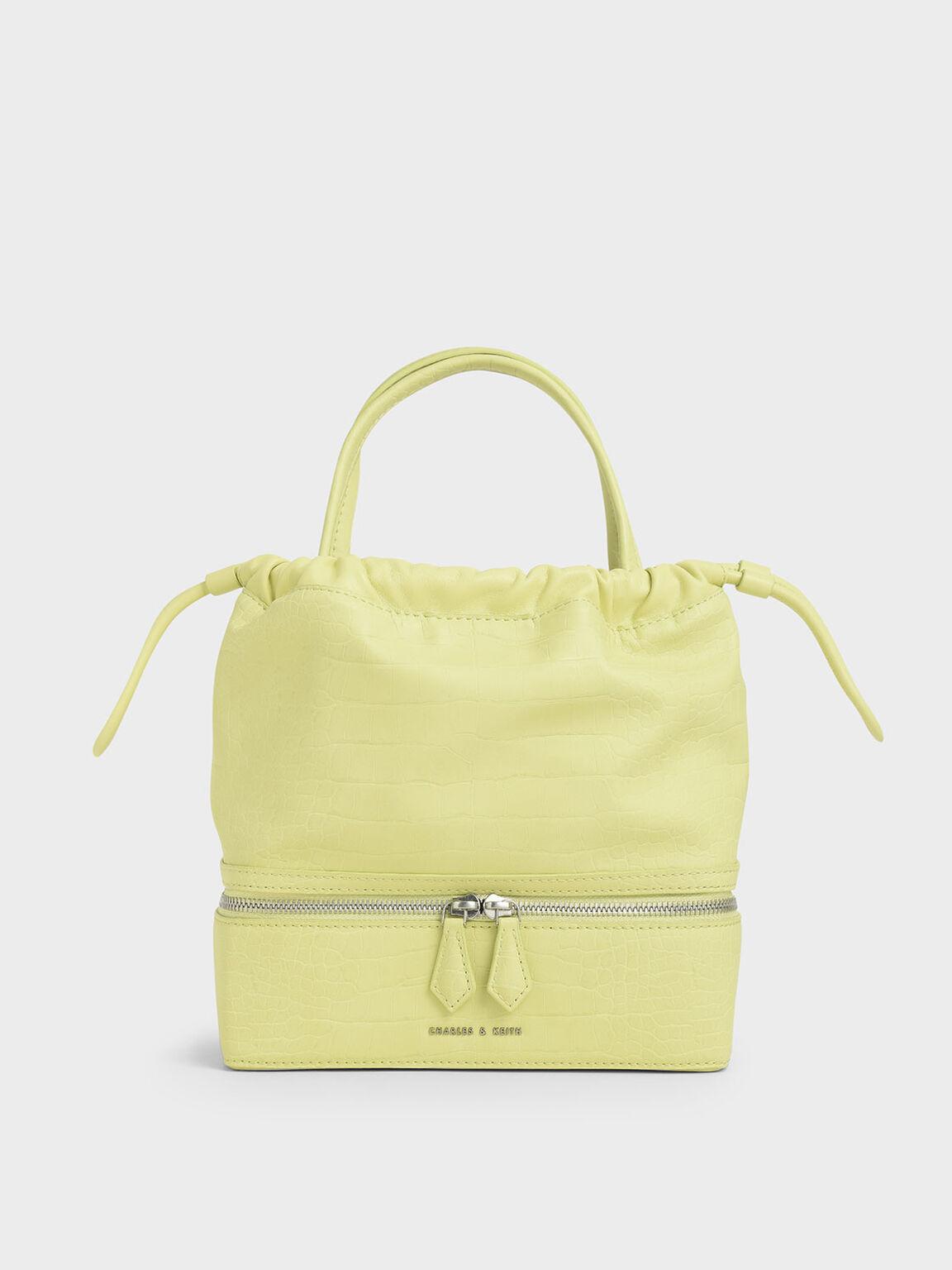 Croc-Effect Two-Way Zip Drawstring Bag, Lime, hi-res