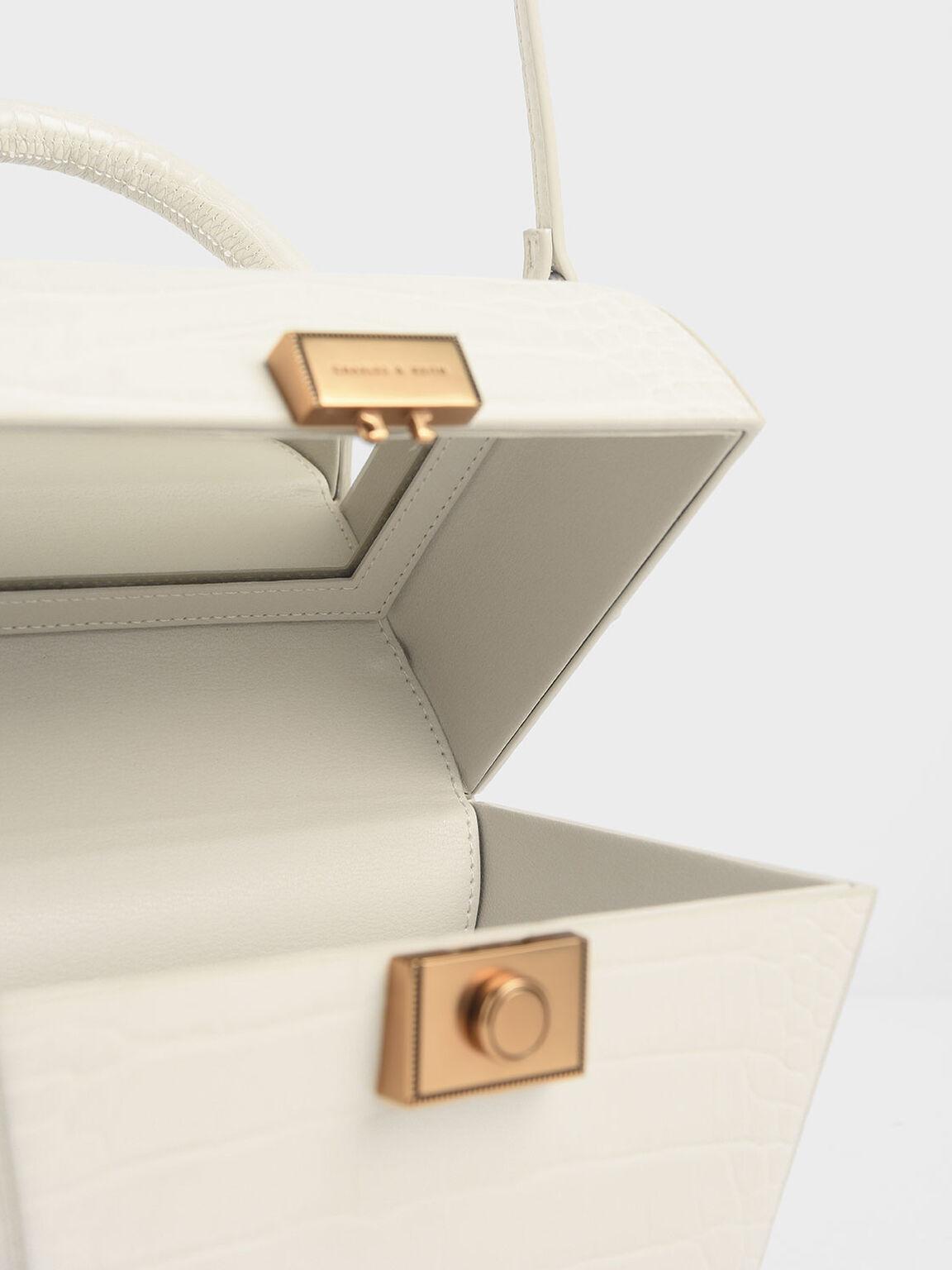 Croc-Effect Sculptural Bag, Cream, hi-res