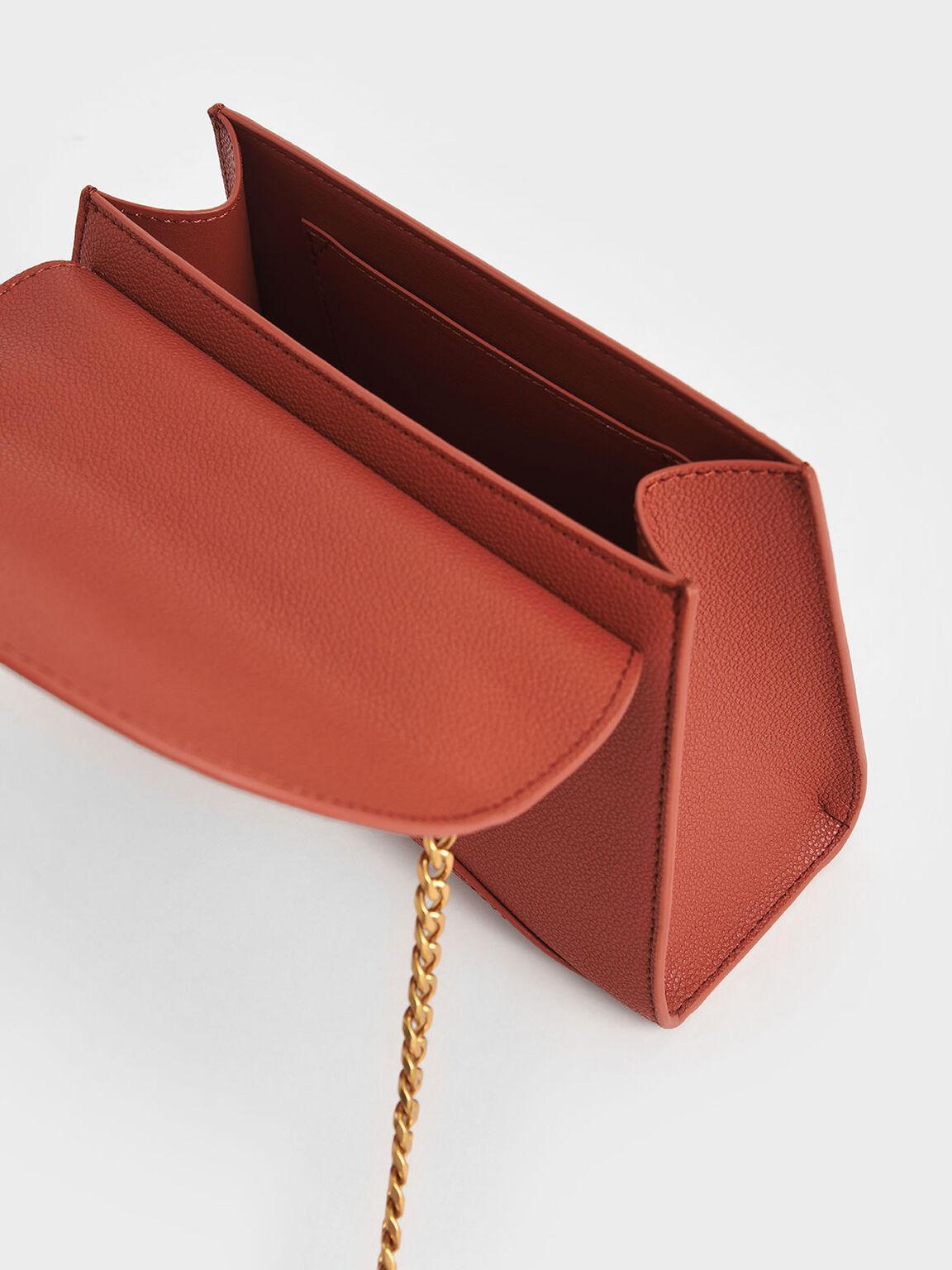 Textured Embellished Push-Lock Bag, Clay, hi-res