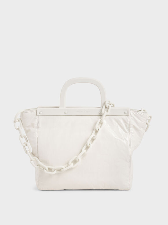 Large Patent Tote Bag, White, hi-res