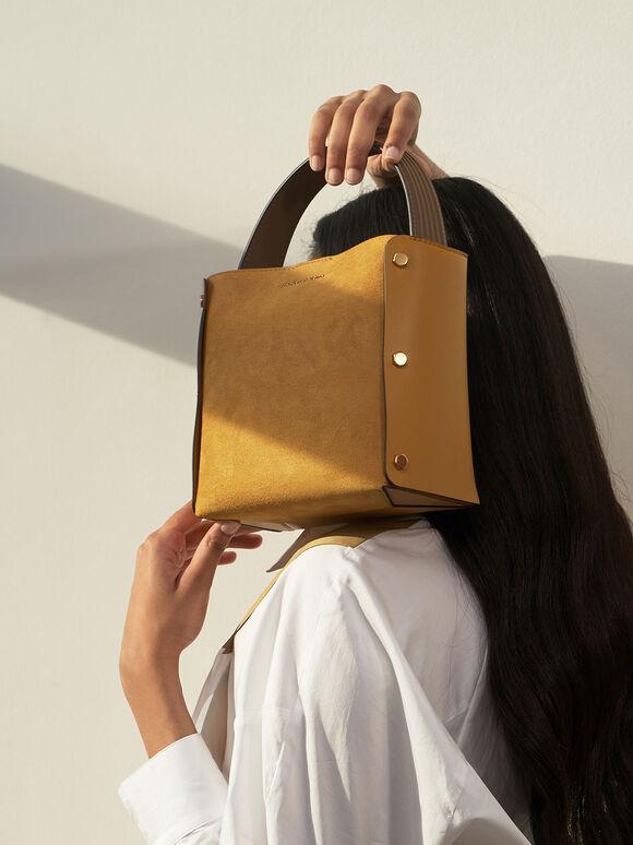 Textured Bucket Bag, Yellow, hi-res