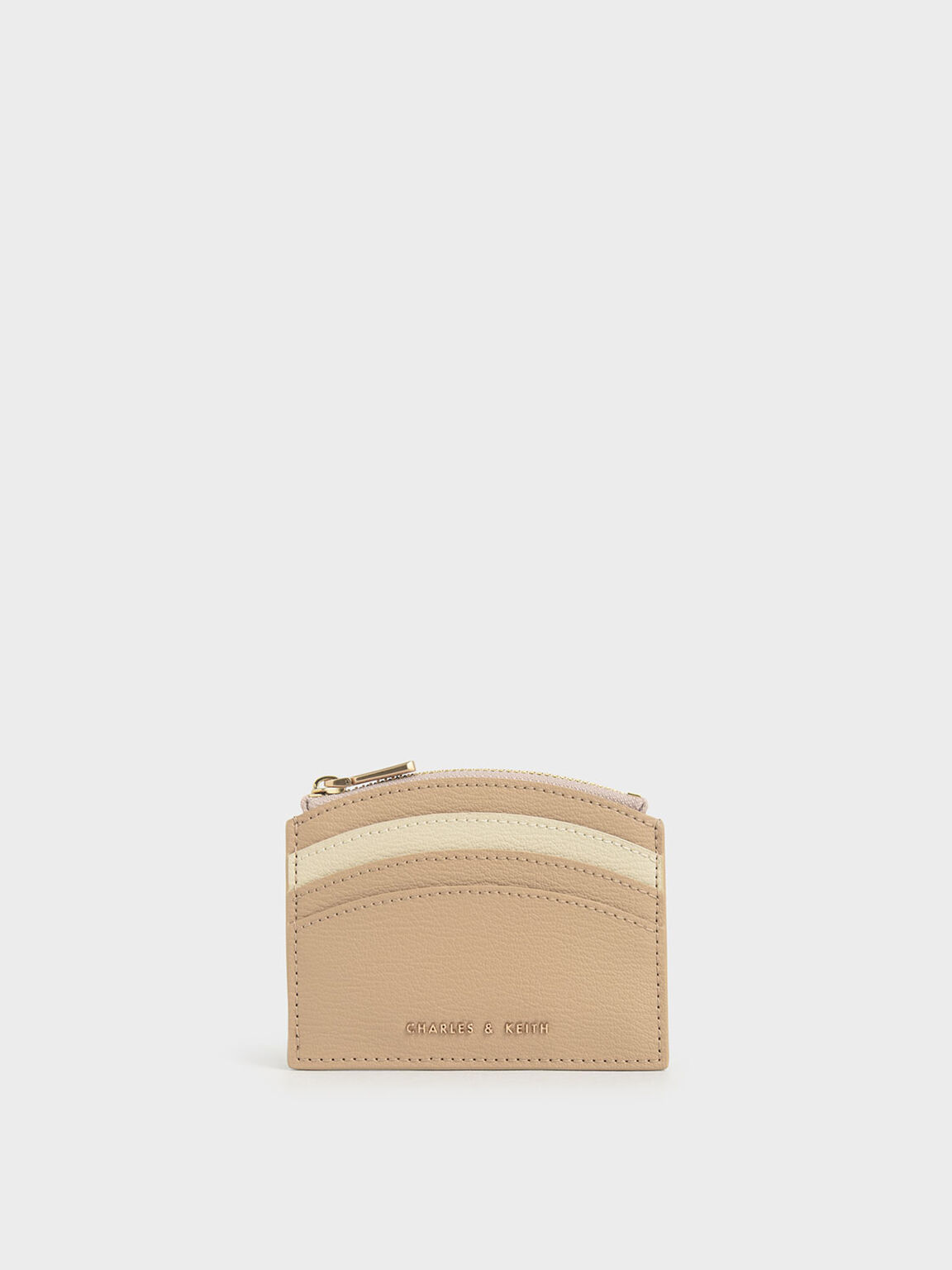 Two-Tone Multi-Slot Zip Card Holder, Beige, hi-res