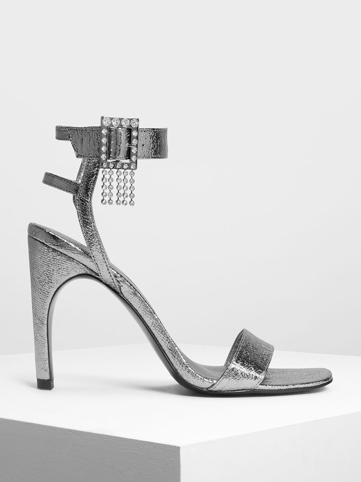 Embellished Buckle Metallic Heeled Sandals, Pewter, hi-res