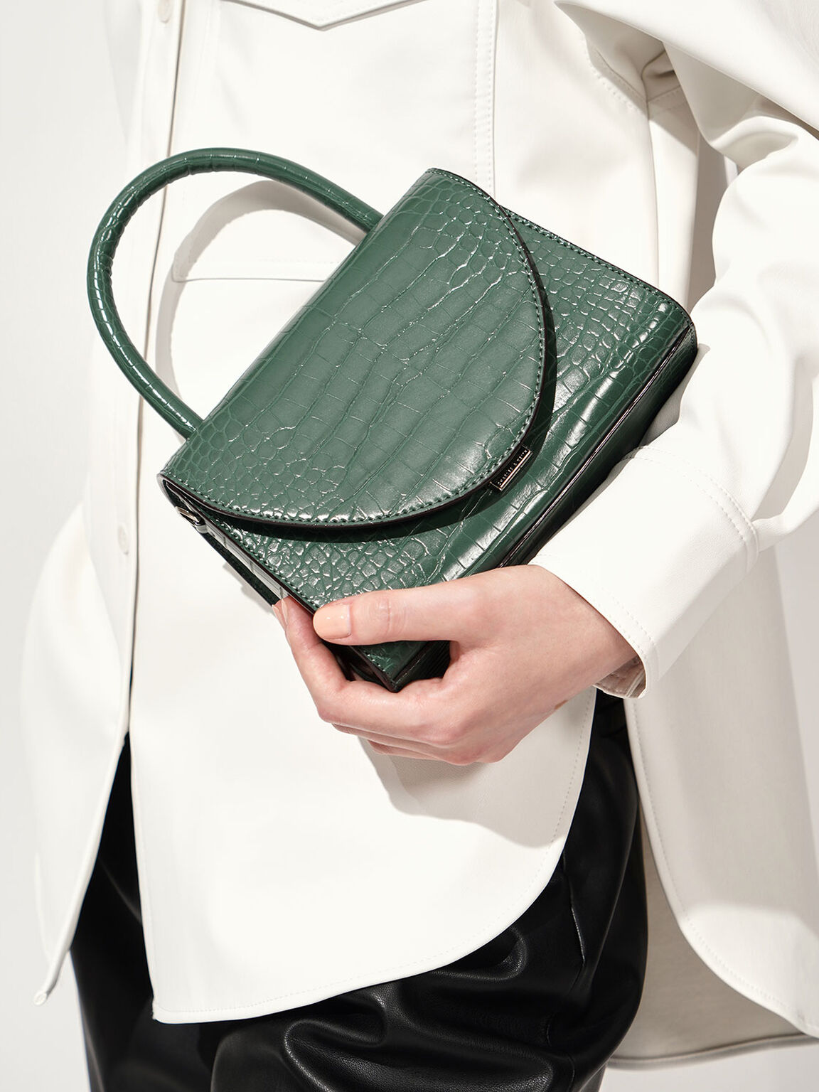 Croc-Effect Structured Top Handle Bag, Green, hi-res