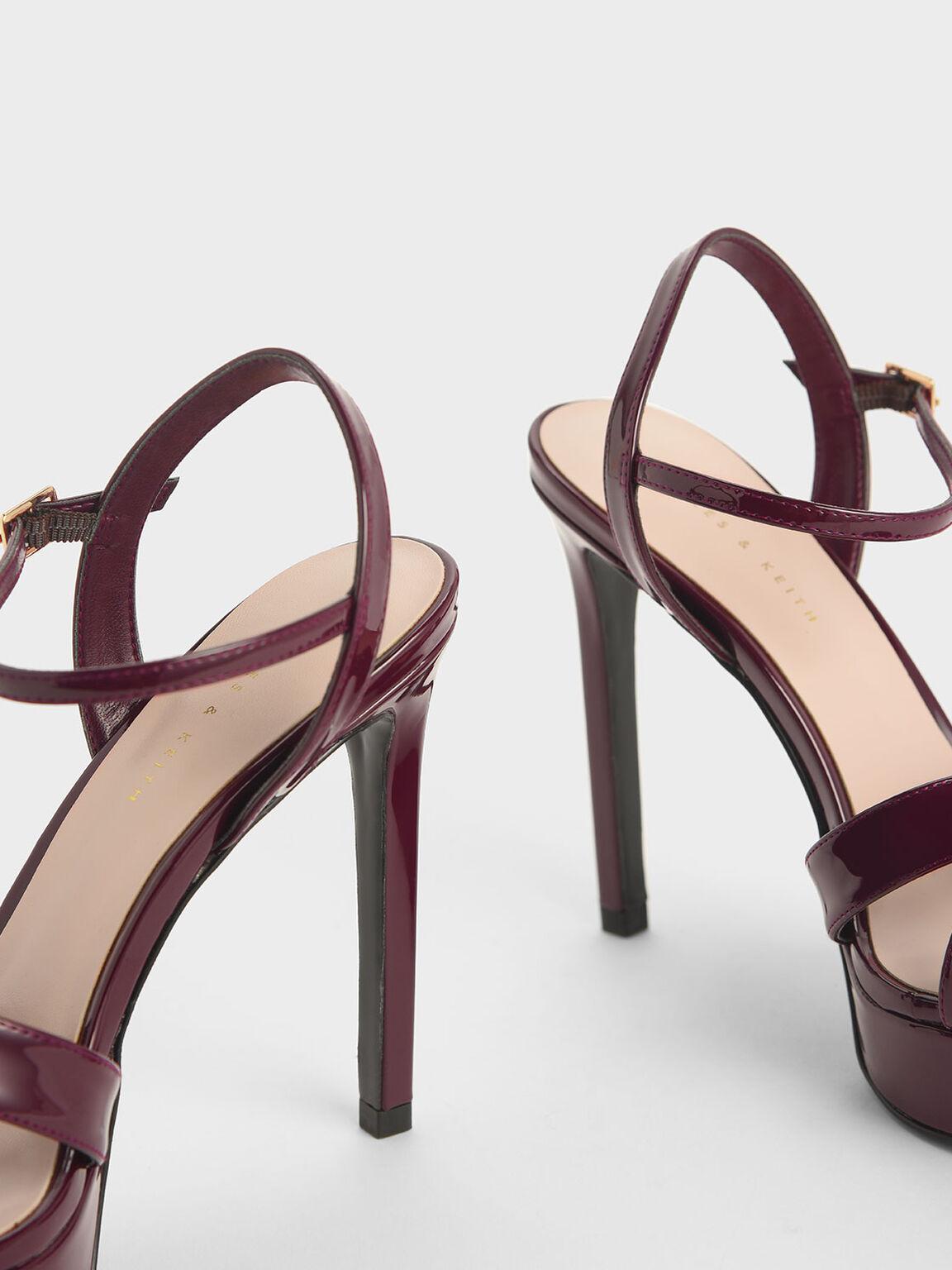 Criss Cross Ankle Strap Patent Platform Heels, Burgundy, hi-res