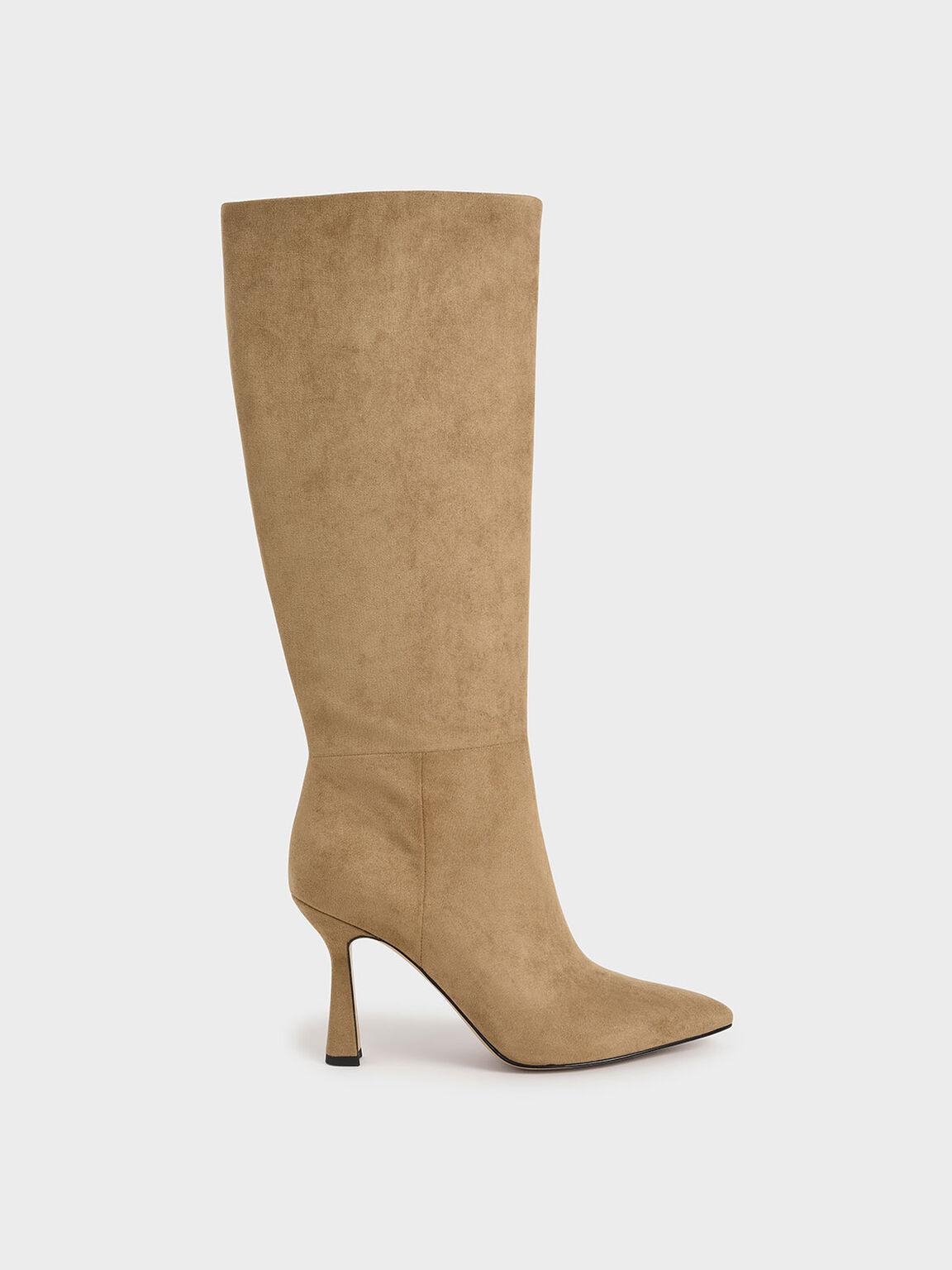 Textured Sculptural Heel Knee High Boots, Camel, hi-res