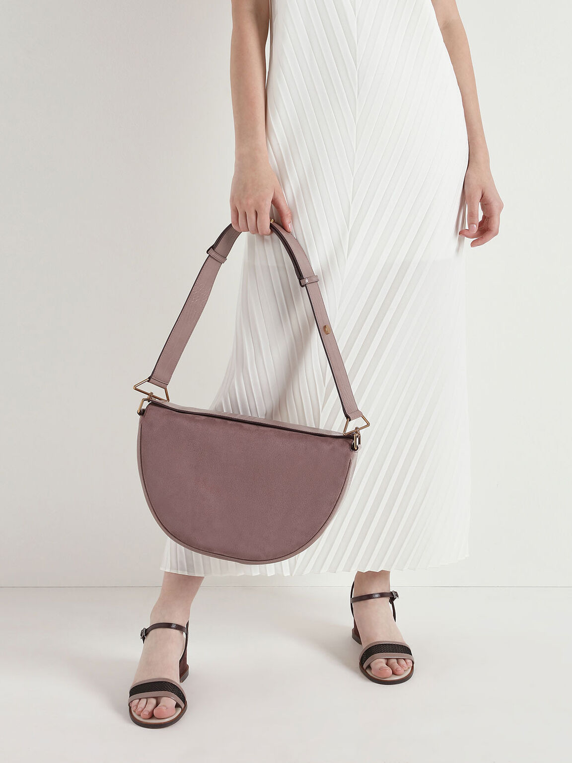 Textured Saddle Bag, Mauve, hi-res