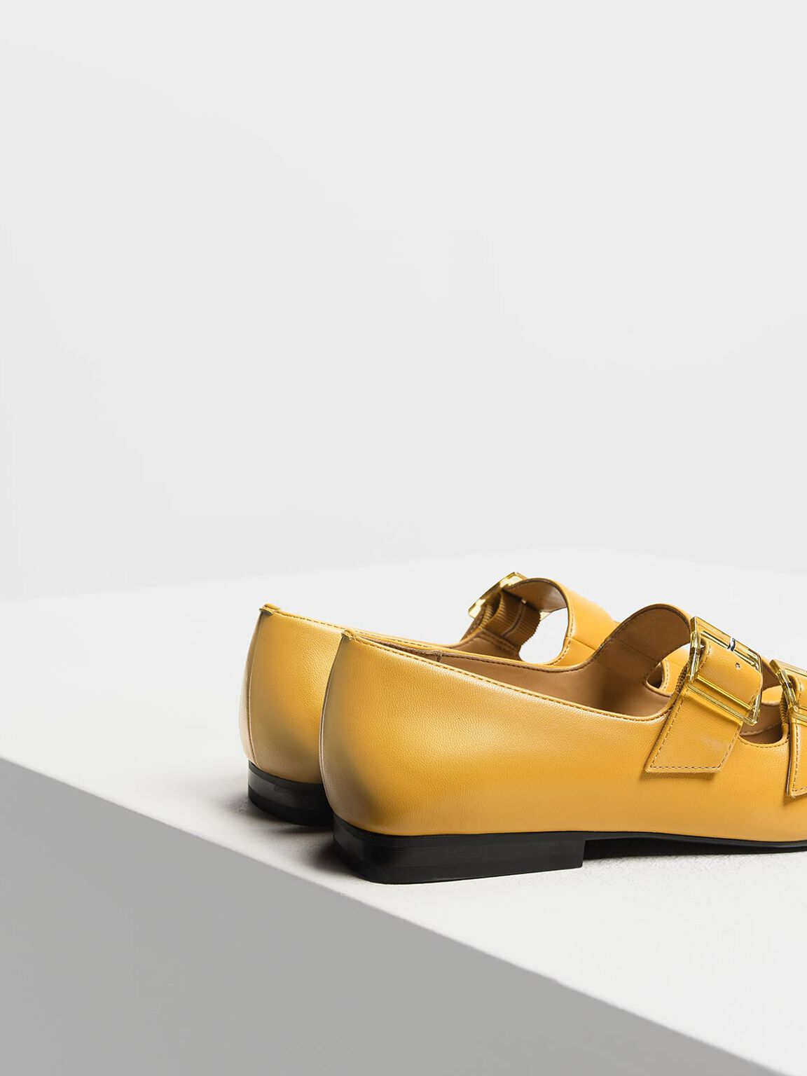Double Buckle Mary Jane Flats, Mustard, hi-res