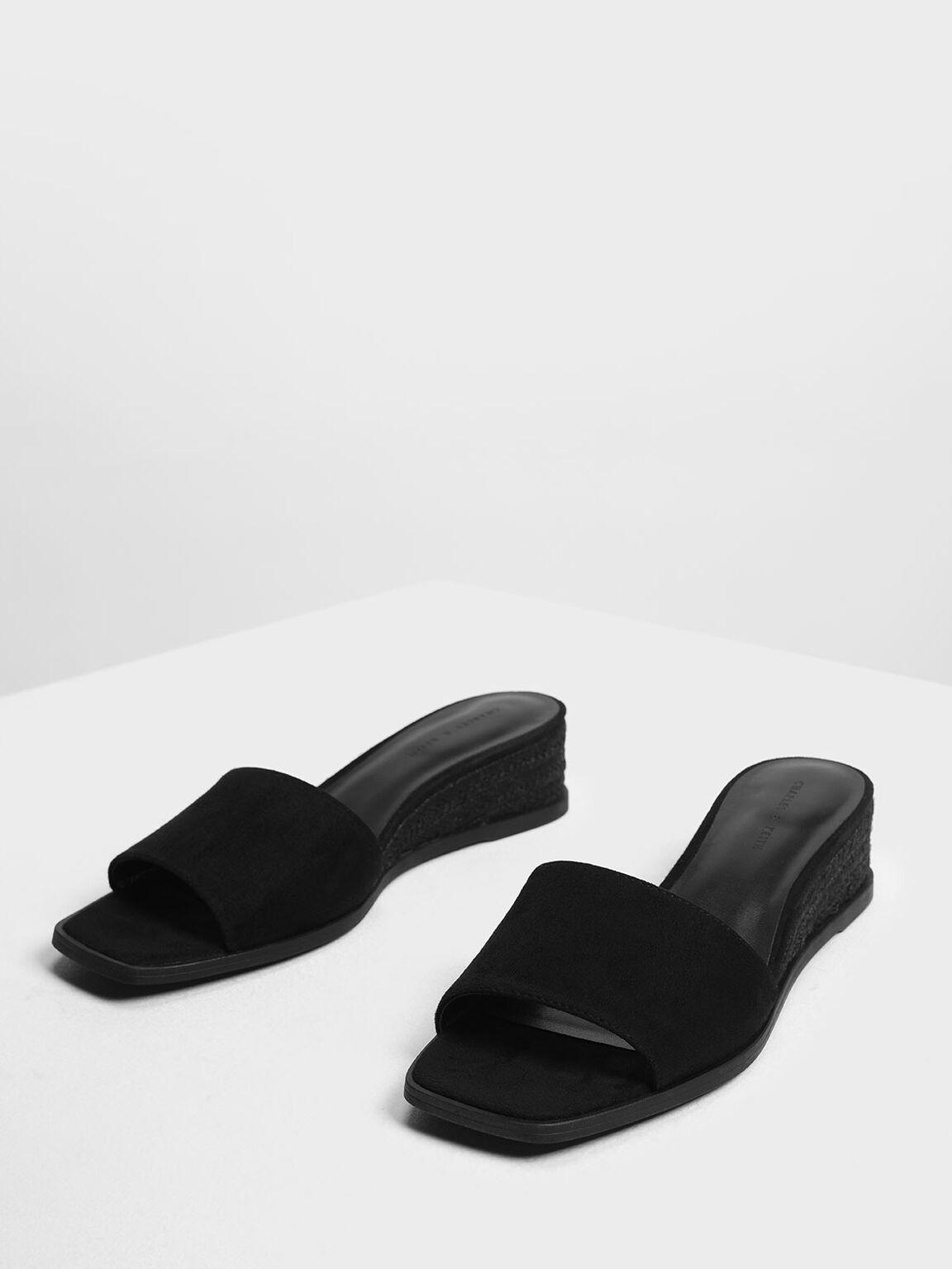 Espadrille Wedges, Black, hi-res