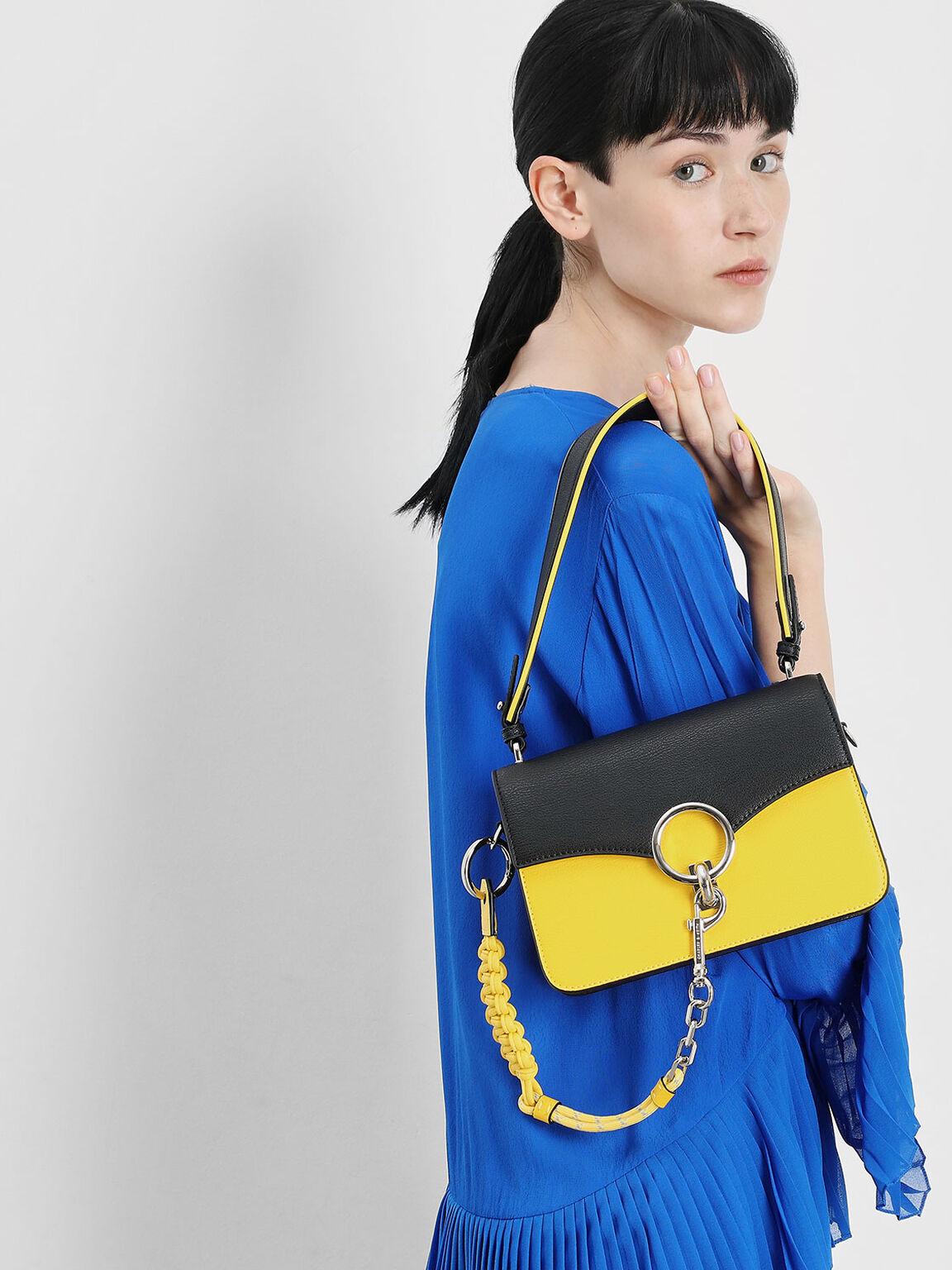 Chain Link Shoulder Bag, Yellow, hi-res