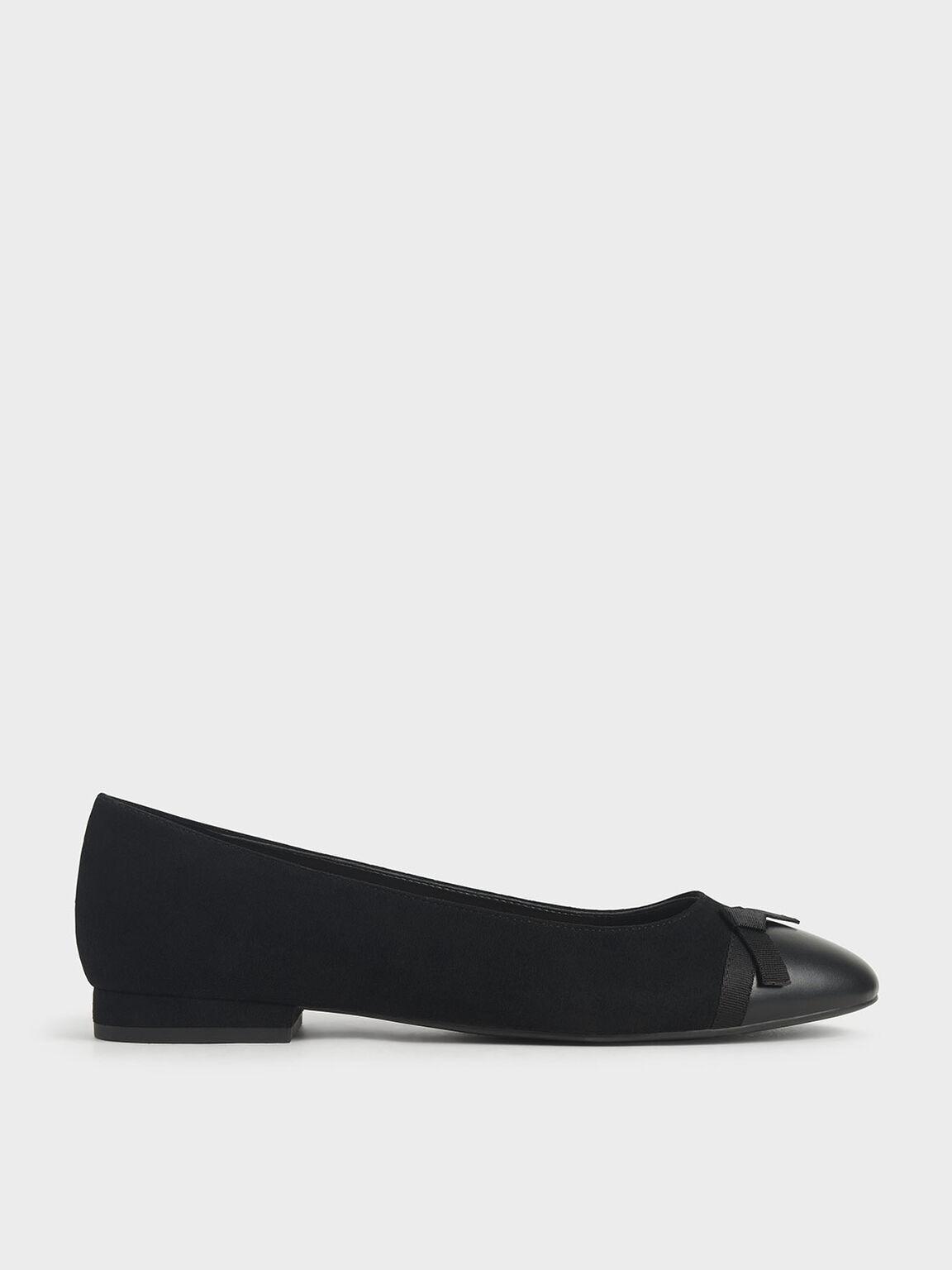 Textured Ribbon Tie Ballet Pumps, Black, hi-res