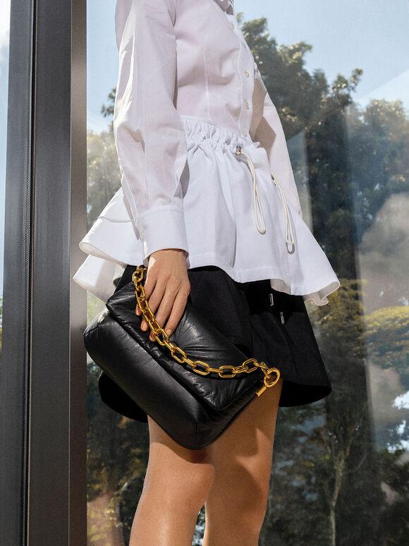 Zadie Padded Shoulder Bag, Black, hi-res