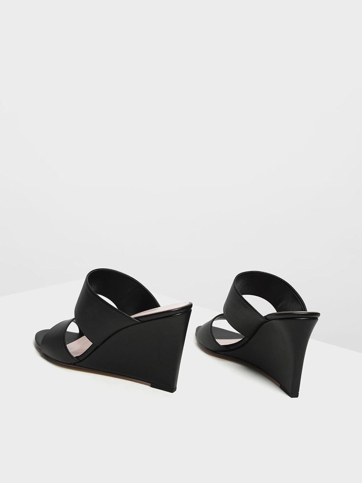 Double Strap Wedges, Black, hi-res