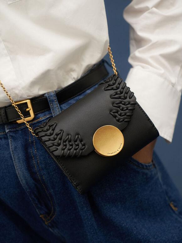 Stitch-Trim Short Wallet, Black, hi-res