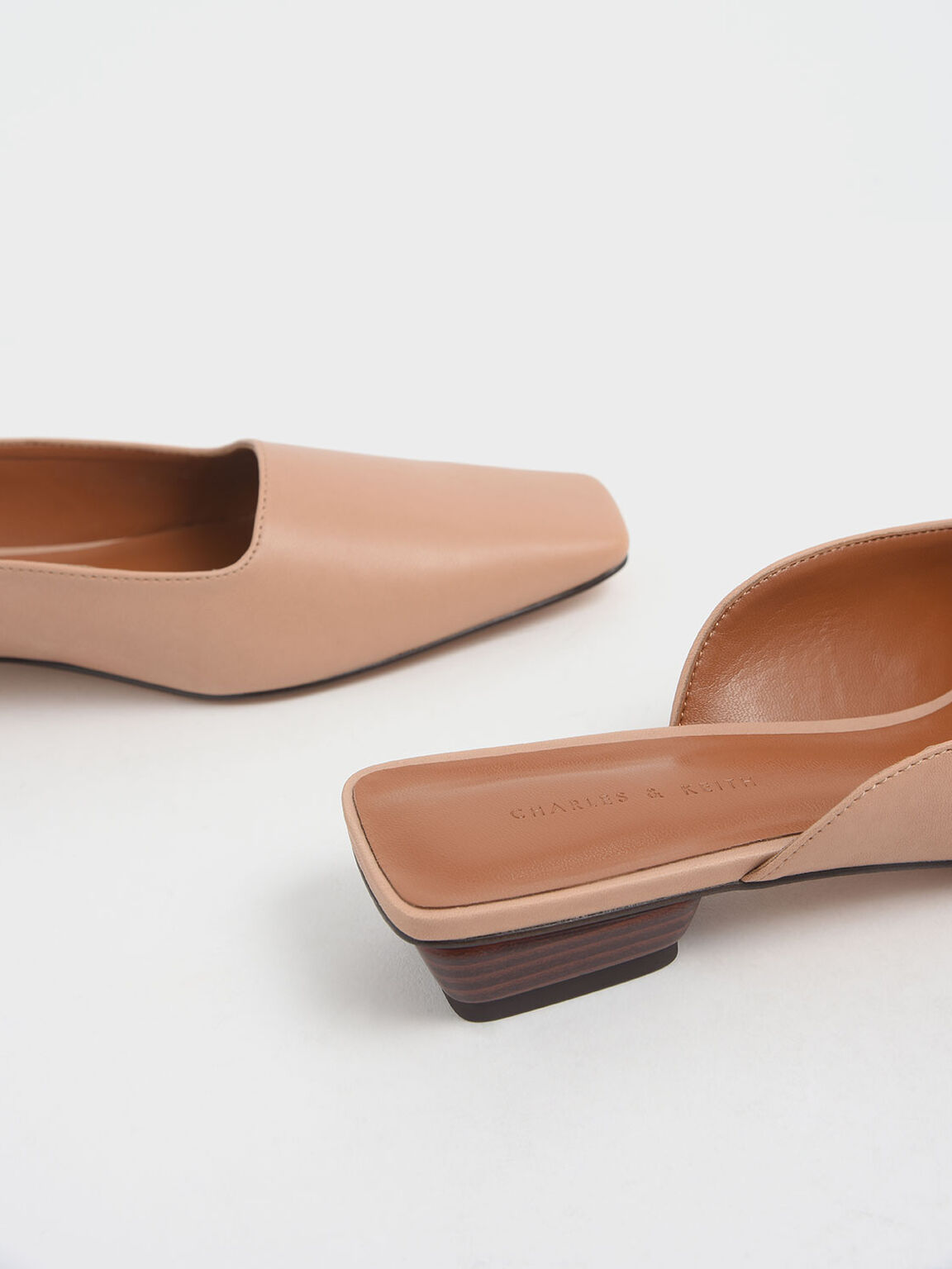 Square Toe Stacked Heel Mules, Nude, hi-res