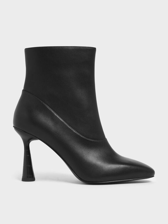 Croc-Effect Sculptural Heel Ankle Boots, Black, hi-res
