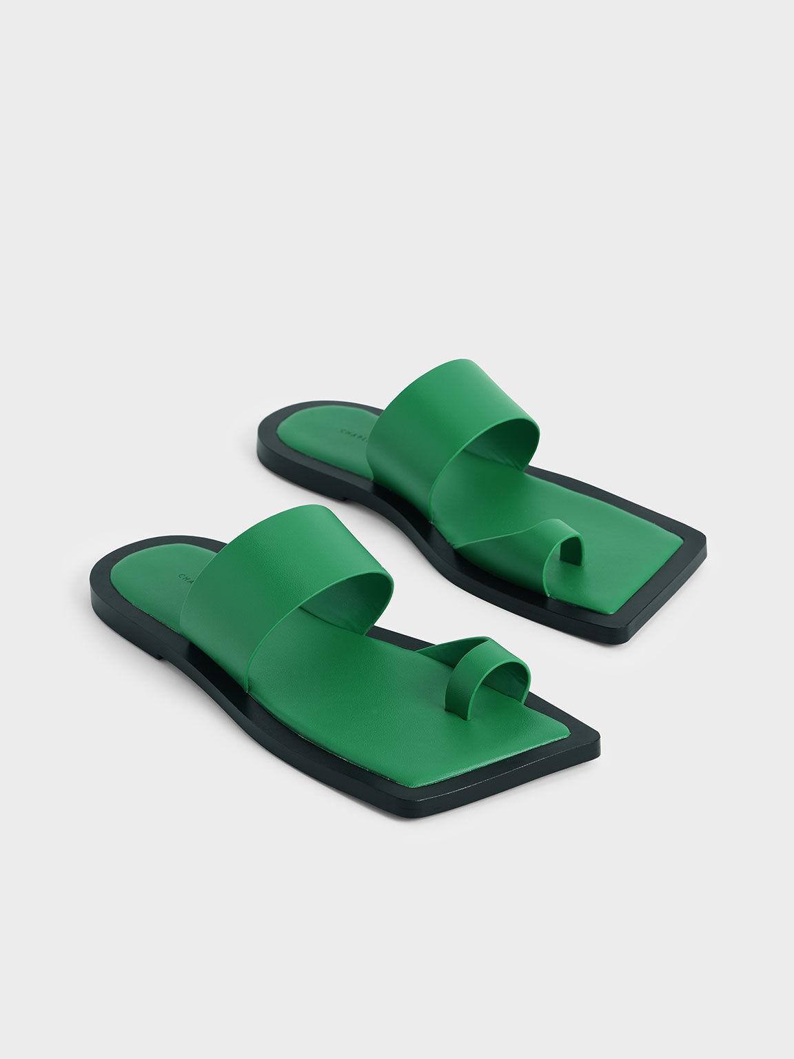 Toe Loop Slide Sandals, Green, hi-res
