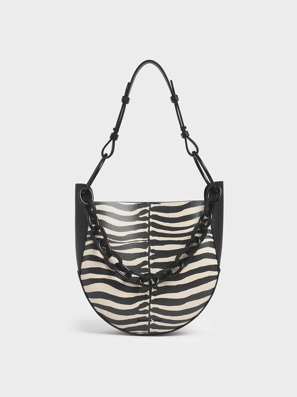 Zebra Print Chunky Chain Link Hobo Bag, Multi, hi-res