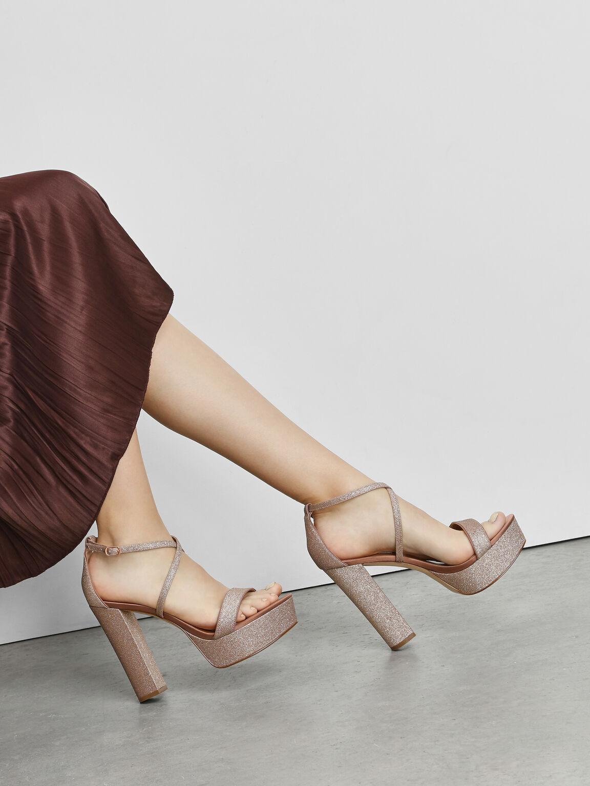 Chunky Glitter Platforms, Rose Gold, hi-res