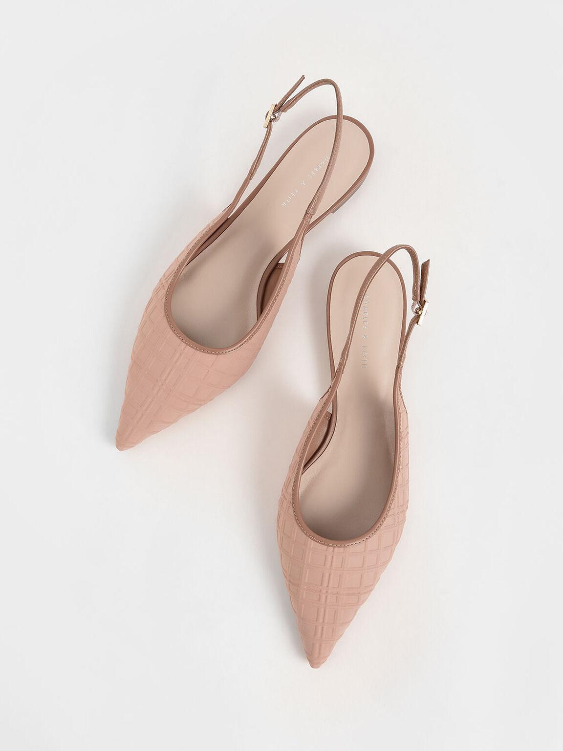 Printed Slingback Ballerina Flats, Nude, hi-res