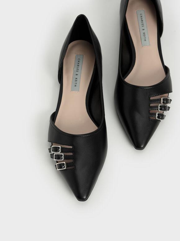 Half D'Orsay Cut-Out Ballet Pumps, Black, hi-res