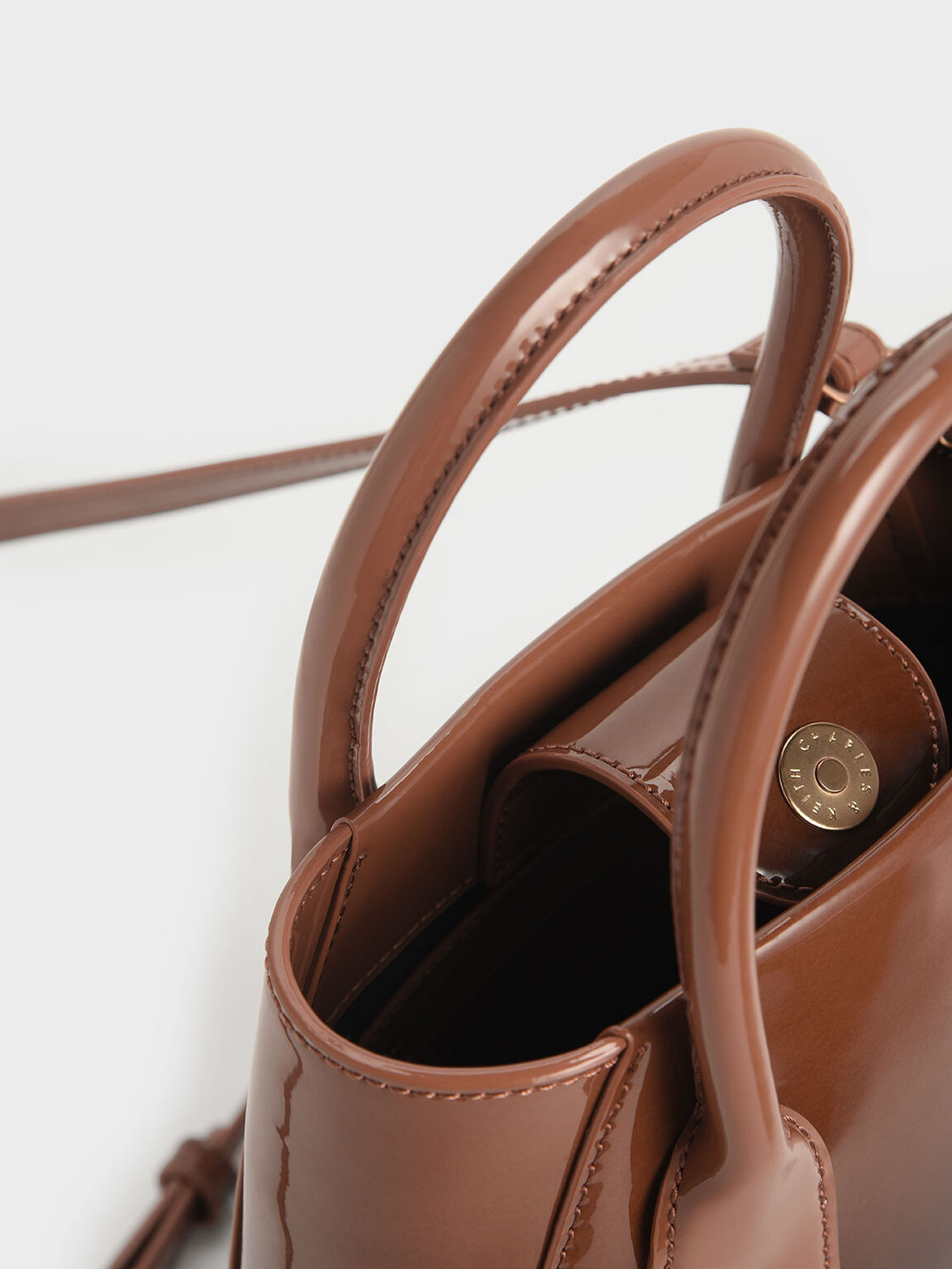 Two-Tone Leather Boxy Bucket Bag, Cognac, hi-res