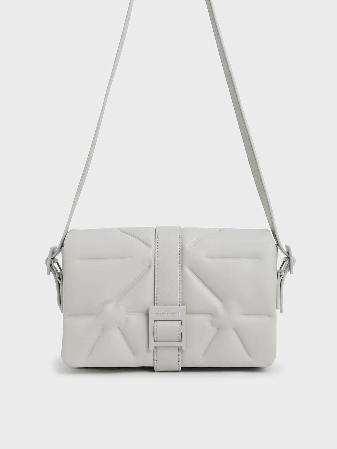 Quilted Shoulder Bag, Grey, hi-res