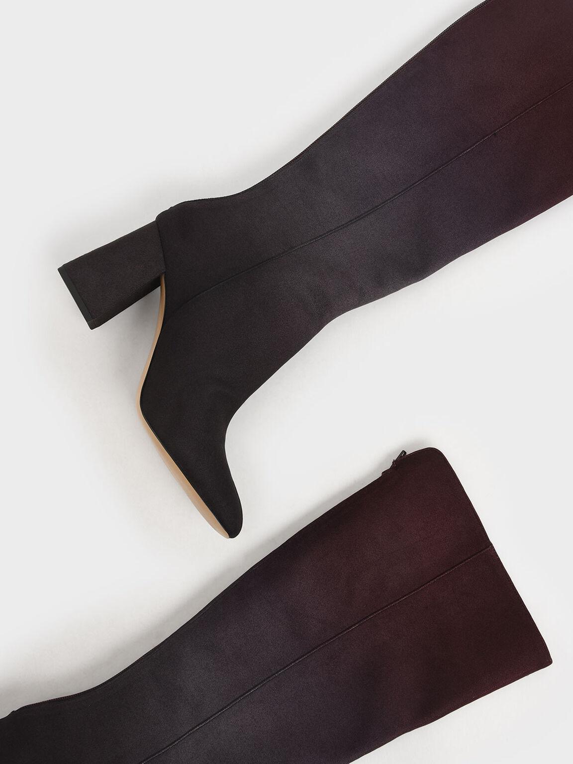 Multicoloured Felt Knee High Boots, Burgundy, hi-res