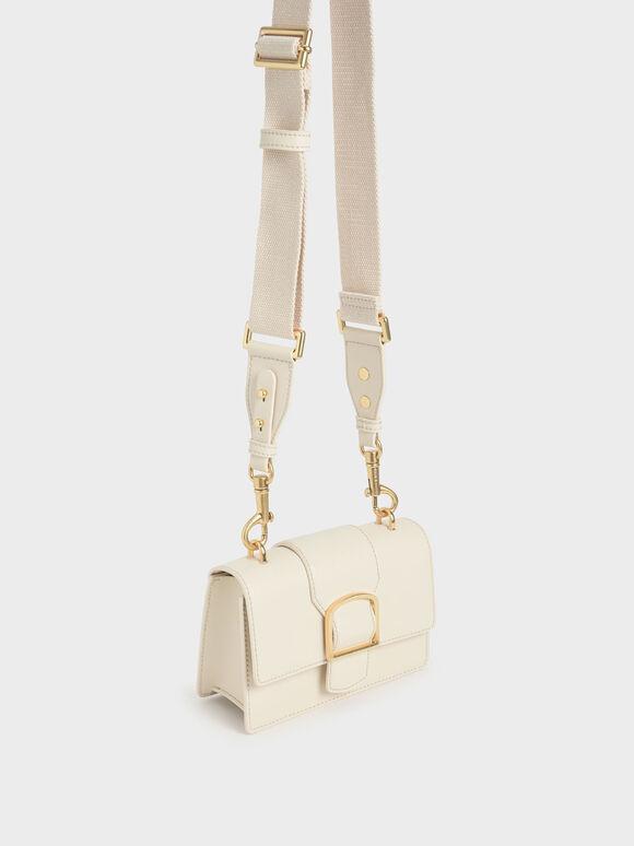 Metallic Buckle Crossbody Bag, Chalk, hi-res