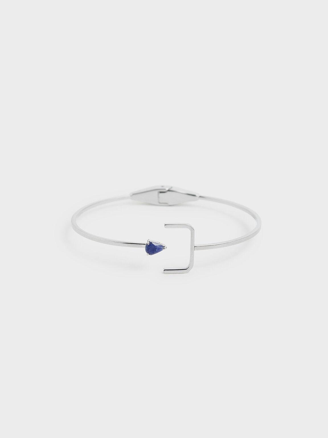 Sodalite Stone Cuff Bracelet, Silver, hi-res
