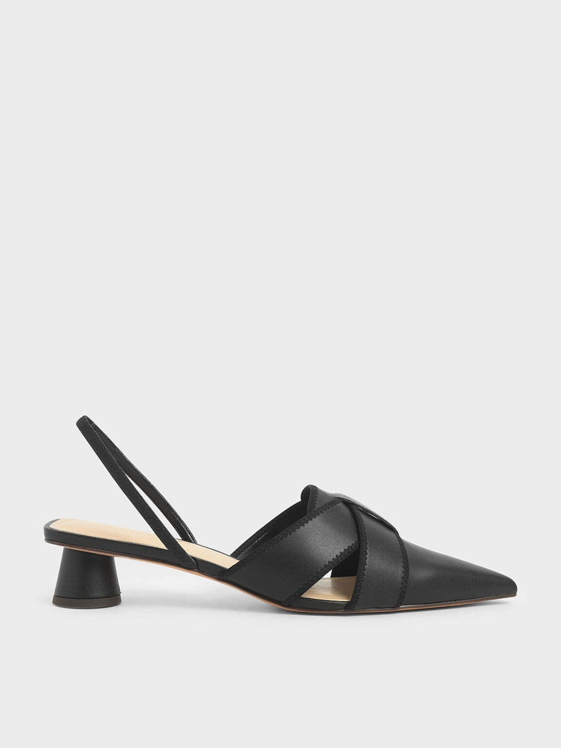 Cylindrical Heel Slingback Pumps, Black, hi-res