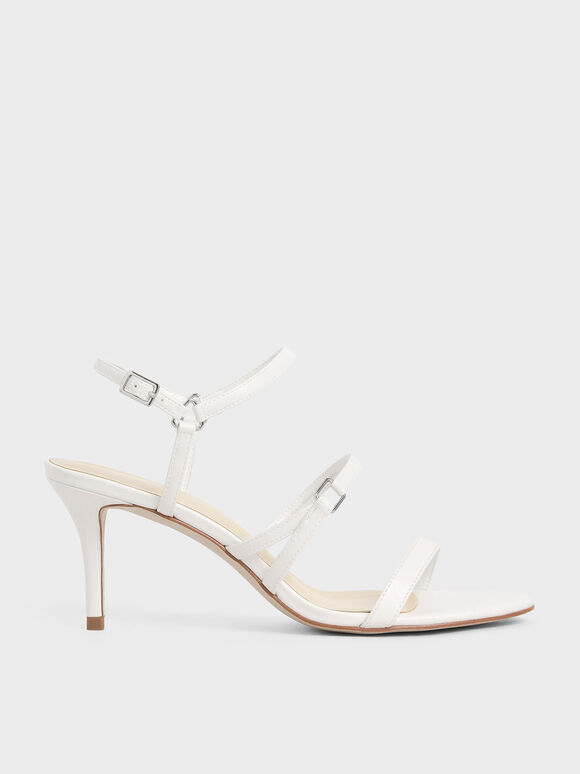 Triple Strap Stiletto Heels, White, hi-res