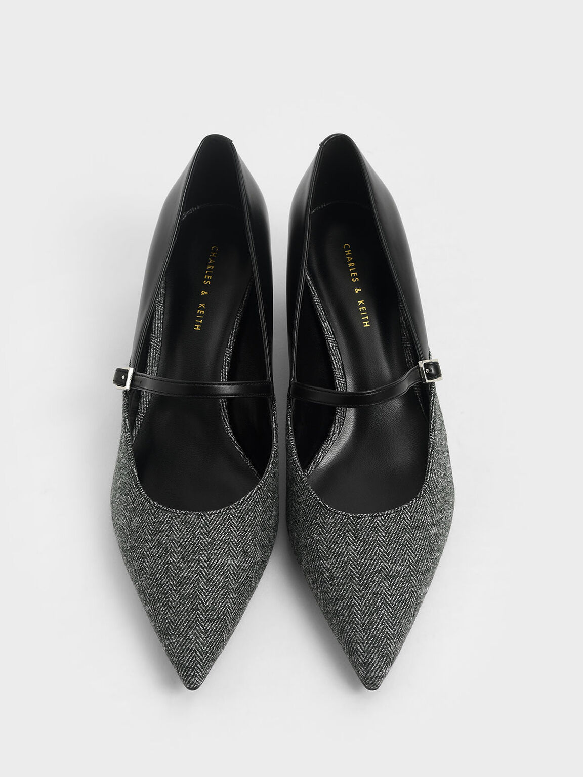 Woven Mary Jane Court Shoes, Dark Grey, hi-res
