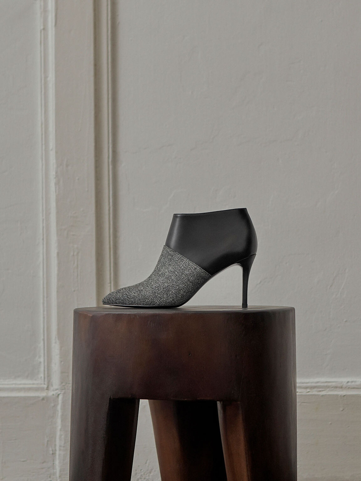 Woven Fabric Stiletto Ankle Boots, Dark Grey, hi-res
