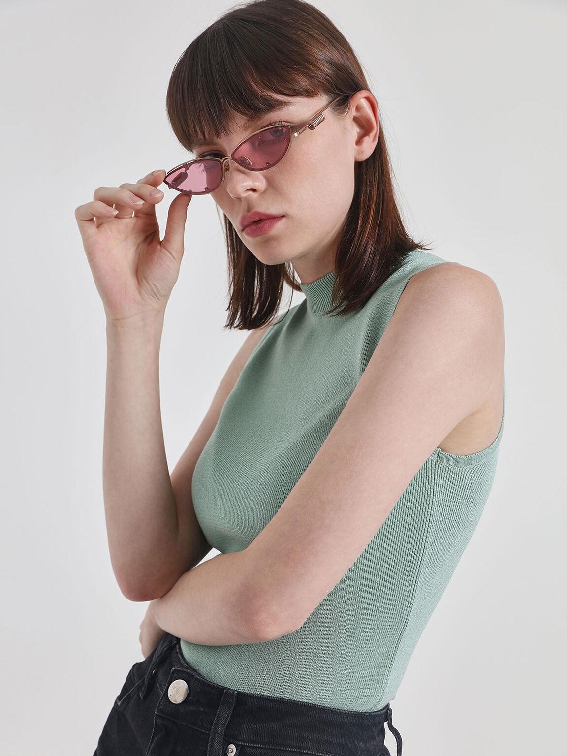 Double Frame Cat-Eye Sunglasses, Pink, hi-res