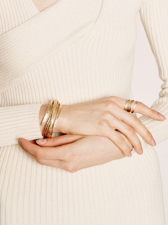 Hammered Wrap-Around Ring, Brush Gold, hi-res