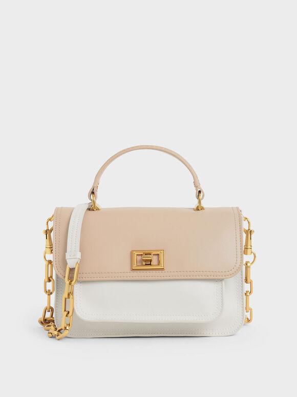 Two-Tone Handbag, Multi, hi-res