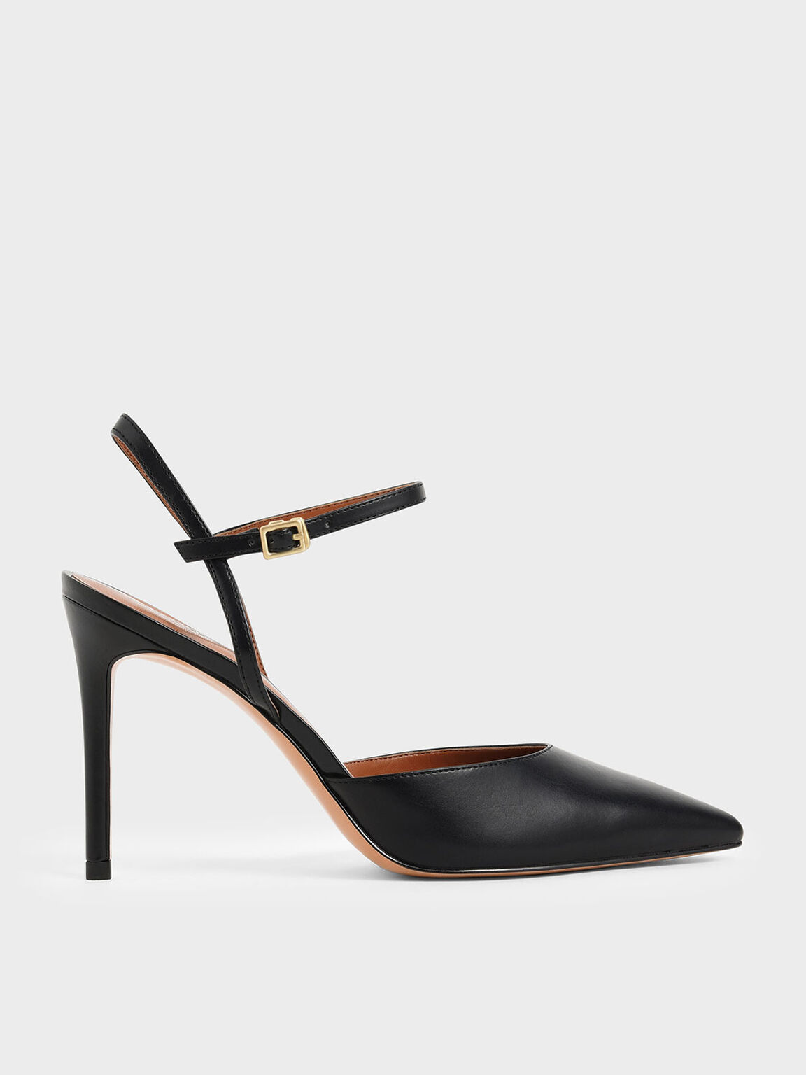 Pointed Toe Ankle Strap Pumps, Black, hi-res