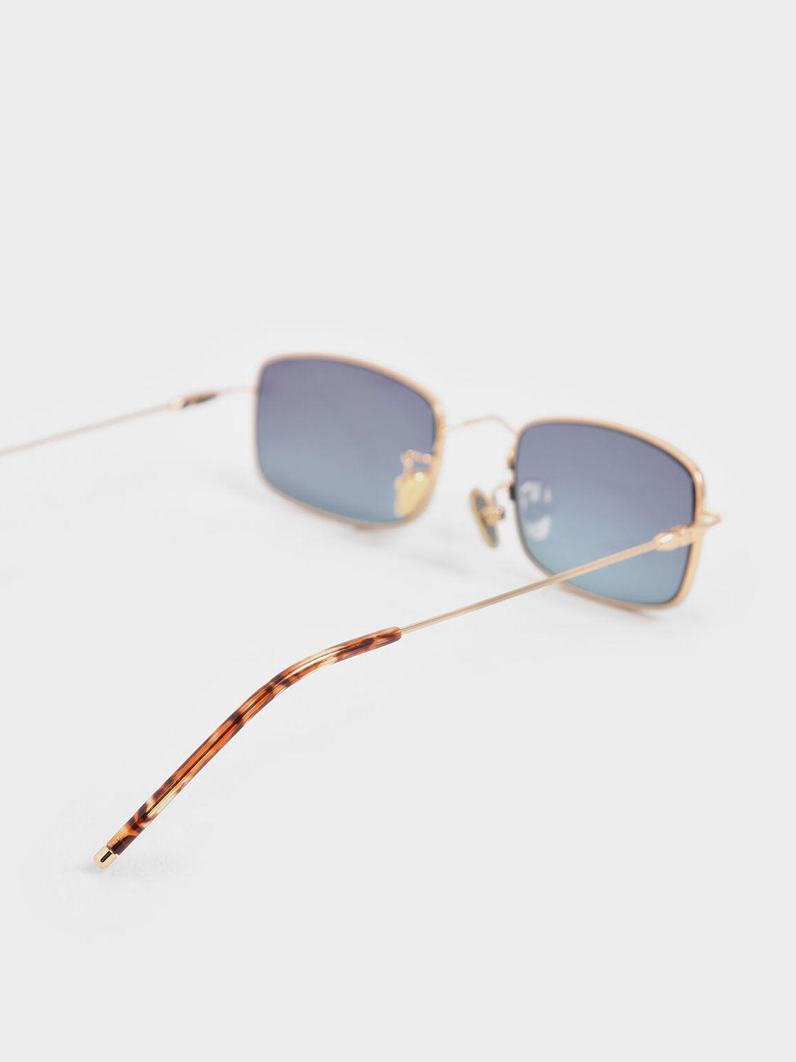 Rectangular Wireframe Sunglasses, Blue, hi-res