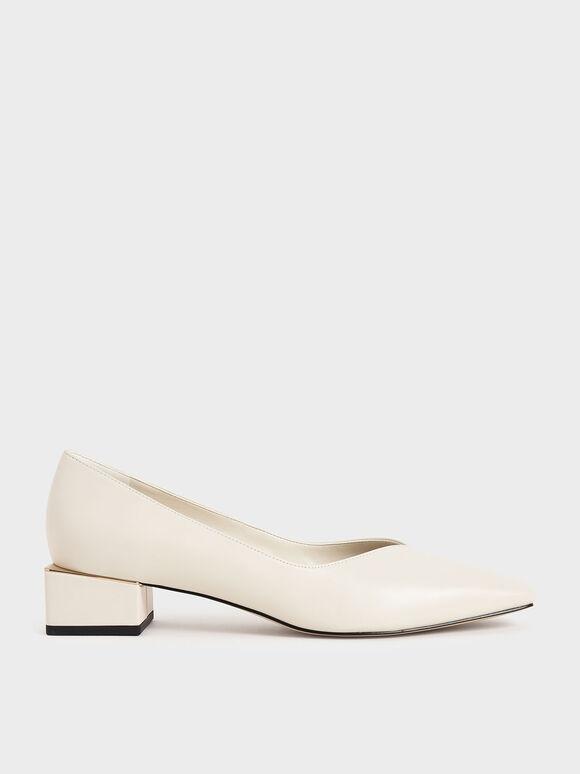Block Heel Court Shoes, Chalk, hi-res