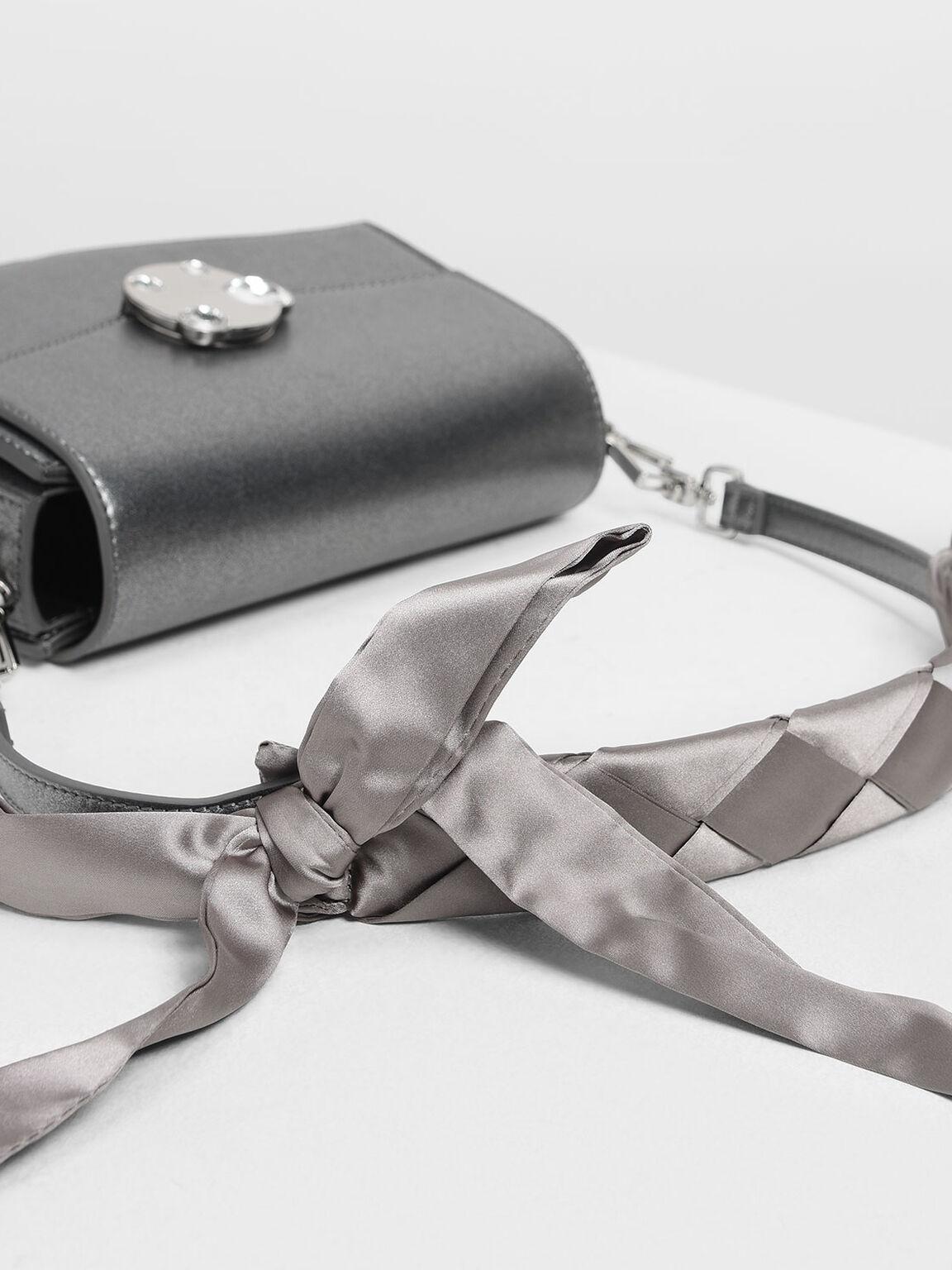 Embellished Push Lock Bag, Silver, hi-res