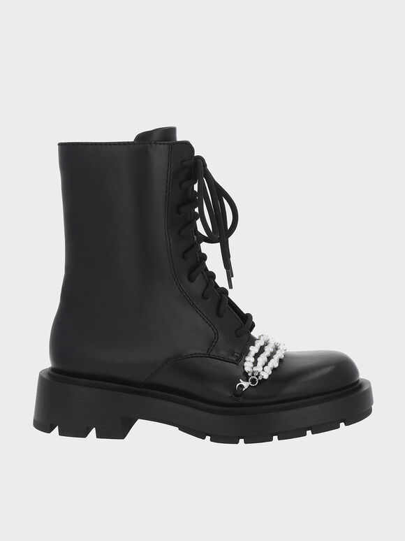 Beaded Lace-Up Ankle Boots, Black, hi-res