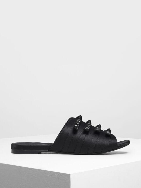 Bow Embellished Satin Slide Sandals, Black, hi-res