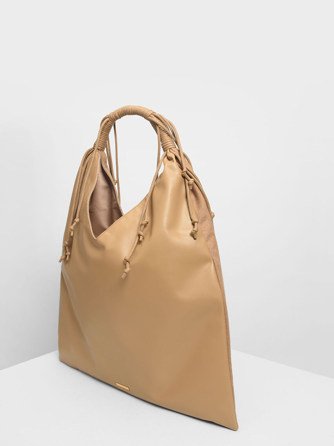 Fringe Detail Slouchy Bag, Beige, hi-res
